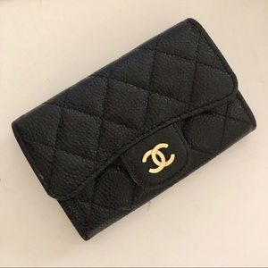 Chanel card holder wallet bag card case black